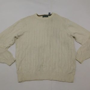 Oscar de la Renta 2XL White Cream Crewneck Sweater